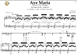 Ave Maria, D. 839 in F-Sharp Major (Bass). In German. F.Schubert. Digital score after Peters Friedlaender Edition (PD).  A5 (landscape).Tablet Sheet Music Download. | eBooks | Sheet Music
