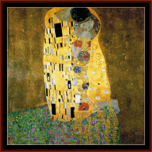 the kiss postersize - klimt cross stitch pattern by cross stitch collectibles
