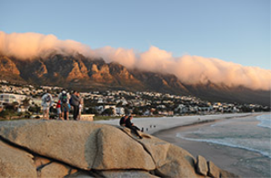 a view of table mountain from camps bay