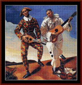 Harlequin and Pierrot, 1924 - Derain cross stitch pattern by Cross Stitch Collectibles | Crafting | Cross-Stitch | Wall Hangings