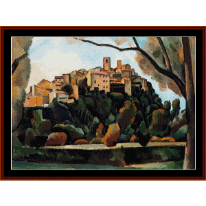 Vista de St. Paul de Vence, 1910 - Derain cross stitch pattern by Cross Stitch Collectibles | Crafting | Cross-Stitch | Wall Hangings