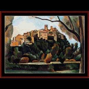 Vista de St. Paul de Vence, 1910 - Derain cross stitch pattern by Cross Stitch Collectibles | Crafting | Cross-Stitch | Wall Hangings