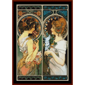 Primrose and Feather - Mucha cross sttich pattern by Cross Stitch Collectibles | Crafting | Cross-Stitch | Wall Hangings