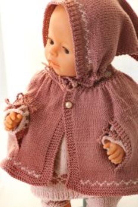 First Additional product image for - DollKnittingPatterns 0138D ALICIA - Jurk/Tuniek, Legging, Haarband, Hoofddoek, schoentjes, Cape-(Nederlands)