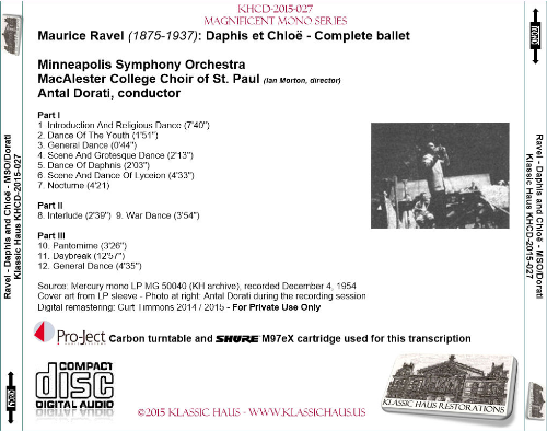 First Additional product image for - Ravel: Daphis et Chloë - Complete ballet - MSO/Antal Dorati