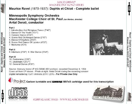 First Additional product image for - Ravel: Daphis et Chloë - Complete ballet - MSO/Antal Dorati