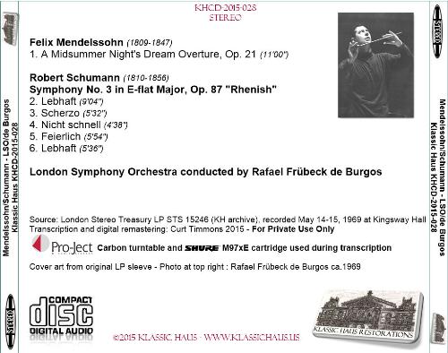 First Additional product image for - Music of Mendelssohn & Schumann - LSO/Rafael Frübeck de Burgos