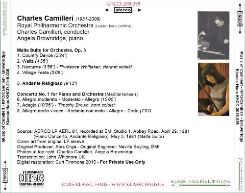 First Additional product image for - Charles Camilleri: Malta Suite/Andante Religioso/Piano Concerto No. 1 - RPO/Camilleri/Angela Brownridge