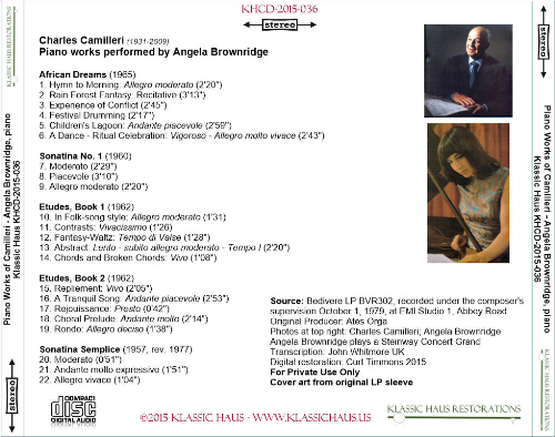 First Additional product image for - Charles Camilleri: Piano works performed by Angela Brownridge