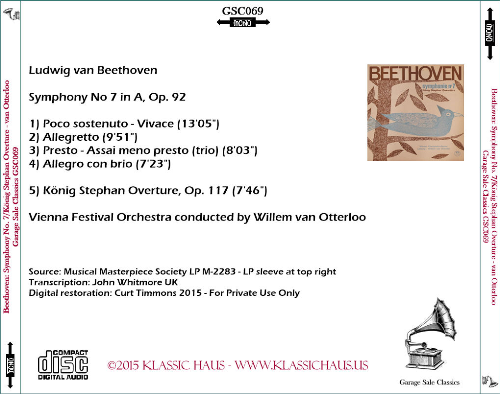 First Additional product image for - Beethoven  Symphony No 7 - König Stephan Overture - Vienna Festival Orchestra conducted by Willem van Otterloo