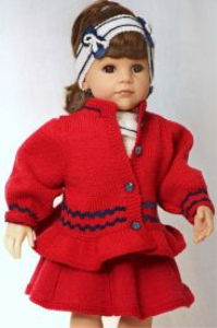 DollKnittingPatterns 0139D JULIE  Skjørt, kort-ermet genser, truse, hårbånd, strømpebukse, jakke, lue og sko-(Norsk) | Crafting | Knitting | Other