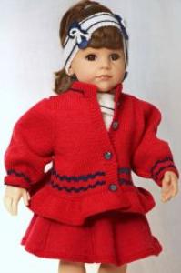 DollKnittingPatterns 0139D JULIE  Rock, kurzärmeliger Pulli, Haarband, Unterhose, Jacke, Mütze, Strumpfhose und Schuhe-(Deutsch) | Crafting | Knitting | Other