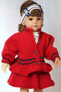 DollKnittingPatterns 0139D JULIE - Rokje, truitje met korte mouwtjes, broek, kousenbroek, Vestje, muts, haarband met strikjes, schoentjes-(Nederlands) | Crafting | Knitting | Other