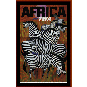 Fly TWA Africa - Vintage Poster cross stitch pattern by Cross Stitch Collectibles | Crafting | Cross-Stitch | Wall Hangings