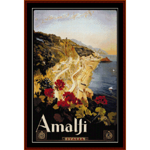 Amalfi - Vintage Poster cross stitch pattern by Cross Stitch Collectibles | Crafting | Cross-Stitch | Wall Hangings