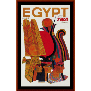 Fly TWA Egypt - Vintage Poster cross stitch pattern by Cross Stitch Collectibles | Crafting | Cross-Stitch | Wall Hangings