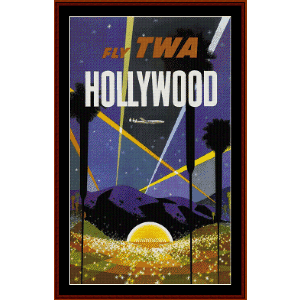 Fly TWA Hollywood - Vintage Poster cross stitch pattern by Cross Stitch Collectibles | Crafting | Cross-Stitch | Wall Hangings