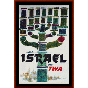 fly twa israel - vintage poster cross stitch pattern by cross stitch collectibles
