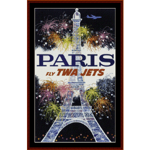 Fly TWA Paris - Vintage Poster cross stitch pattern by Cross Stitch Collectibles | Crafting | Cross-Stitch | Wall Hangings