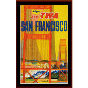 Fly TWA San Francisco - Vintage Poster cross stitch pattern by Cross Stitch Collectibles | Crafting | Cross-Stitch | Other