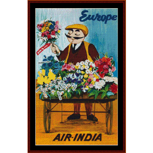 Air India - Vintage Poster cross stitch pattern by Cross Stitch Collectibles | Crafting | Cross-Stitch | Other