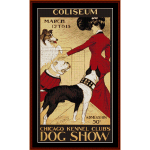 Chicago Kennel Club Dog Show - Vintage Poster cross stitch pattern by Cross Stitch Collectibles | Crafting | Cross-Stitch | Wall Hangings
