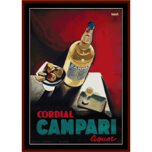 Campari - Vintage Poster cross stitch pattern by Cross Stitch Collectibles | Crafting | Cross-Stitch | Wall Hangings