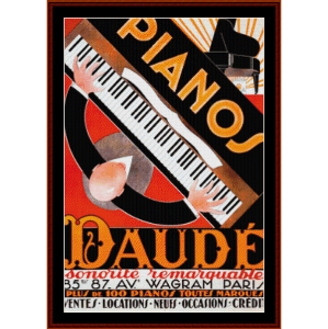 Daude Pianos - Vintage Poster cross stitch pattern by Cross Stitch Collectibles | Crafting | Cross-Stitch | Wall Hangings