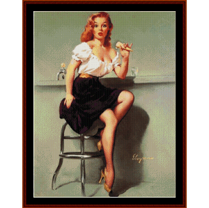 Pin-Up Girl - Vintage Poster cross stitch pattern by Cross Stitch Collectibles | Crafting | Cross-Stitch | Wall Hangings