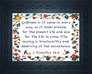 Godliness is of Value | Crafting | Cross-Stitch | Religious