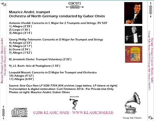 First Additional product image for - Concerti for  Baroque Trumpet - Maurice André, trumpet