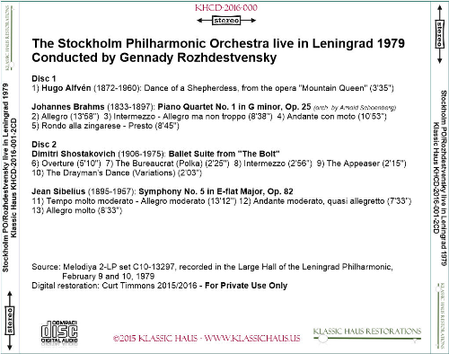 First Additional product image for - Stockholm Philharmonic Orchestra conducted by Gennady Rozhdestvensky - Live in Leningrad 1979