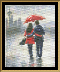 Seattle Lovers In The Rain | Crafting | Cross-Stitch | Wall Hangings