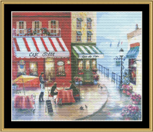 French Cafe By The Sea | Crafting | Cross-Stitch | Wall Hangings
