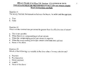 fina 210 past final exam, quizzes