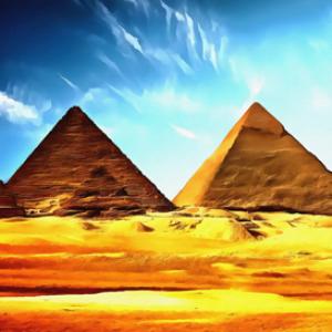 egyptian pyramids digital painting