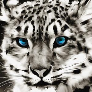 white leopard digital painting