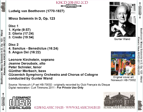 First Additional product image for - Beethoven: Missa Solemis in D, Op. 123 - Gürzenich Symphony Orchestra and Chorus of Cologne/Gunter Wand
