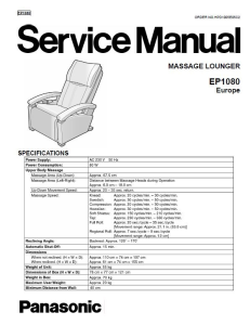 Panasonic EP1080 Massage Lounger Service Manual | eBooks | Technical