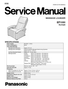 Panasonic EP1080 Massage Lounger Service Manual | eBooks | Technical