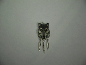 Peyote Stitch Gray Wolf Delica Seed Beading Pendant Pattern-420 | Crafting | Jewelry