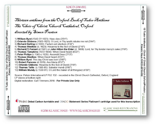 First Additional product image for - 13 Anthems from the Oxford Book of Tudor Anthems - Choir of Christ Church Cathedral, Oxford - Simon Preston