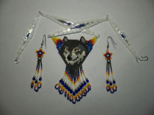 First Additional product image for - Brick Stitch Gray Wolf Delica Seed Beading Pendant Pattern-441