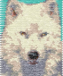 brick stitch white wolf delica seed beading panel pattern-450