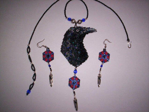 Brick Stitch Raven Delica Seed Beading Pendant Pattern-439 | Crafting | Jewelry