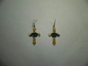 brick stitch eye in cross delica seed beading earring pattern-433