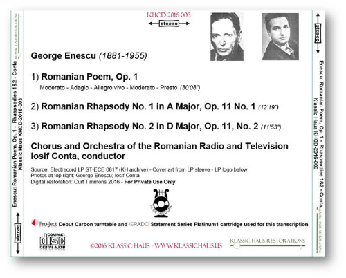 First Additional product image for - Enescu: Romanian Poem, Op. 1 - Romanian Rhapsodies Nos. 1&2 - Chorus & Orchestra of the Romanian Radio and Television/Iosif Conta