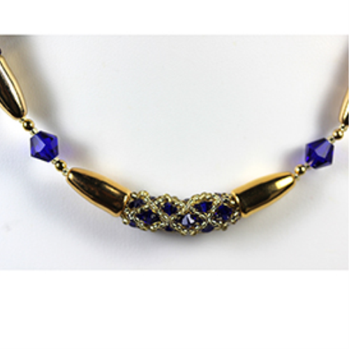 First Additional product image for - Encased Crystals-Necklace in Cobalt Blue