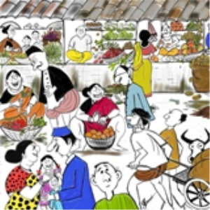 indian market - caricature