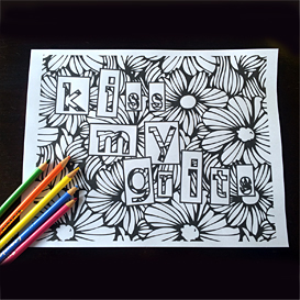 kiss my grits - adult coloring book page